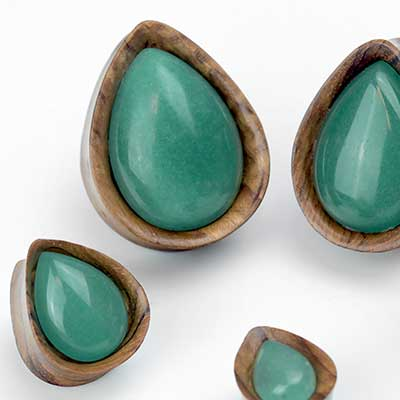 Olivewood Teardrop Plugs with Aventurine