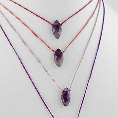 Silk and Oval Amethyst Gemstone Choker Necklace