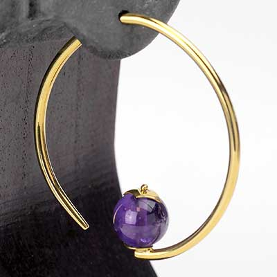 Brass Tear Dew Drop Design with Amethyst