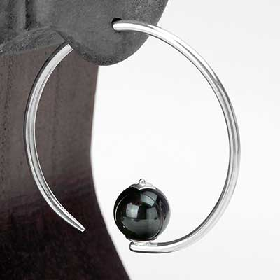 Sterling Silver Round Dew Drop Design with Rainbow Obsidian