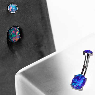 Titanium Oval Navel with Synthetic Opal