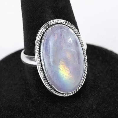 Purple Rainbow Moonstone Ring