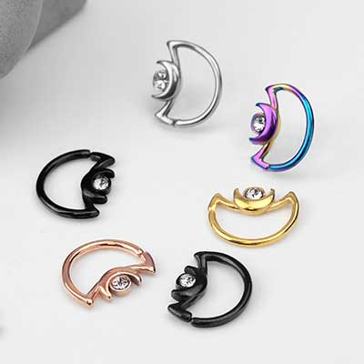 Gemmed Crescent Moon Seamless Ring
