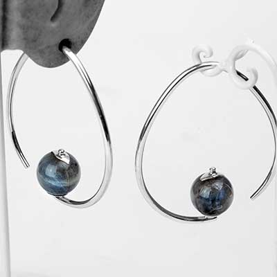 Silver Tear Dew Drop Design with Labradorite