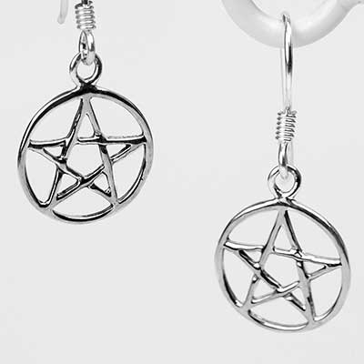 Silver Circle Pentagram Dangle Earrings