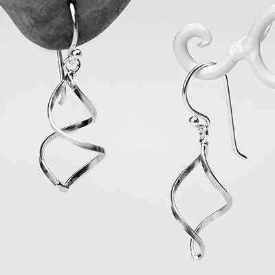 Silver Spiral Twist Dangle Earrings
