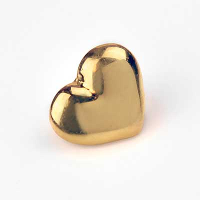 18k Gold Puffy Heart Internally Threaded End