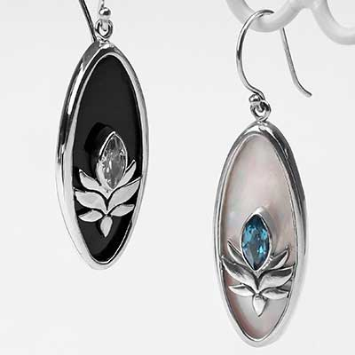 Silver Lotus Gemstone Earrings
