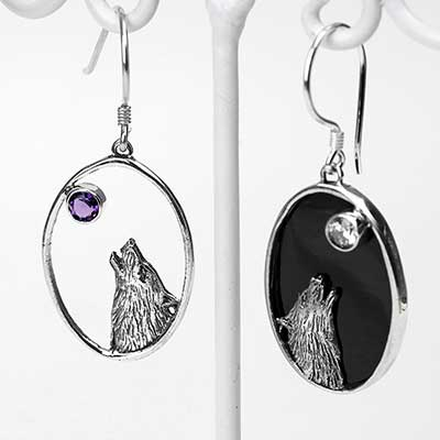 Silver Howling Wolf Earrings