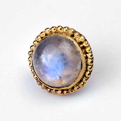 14k Gold Threadless End with Moonstone