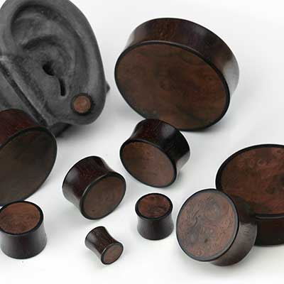 Arang Plugs with Burl Wood Inlays
