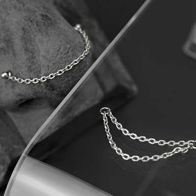 14k White Gold Nostril Chains