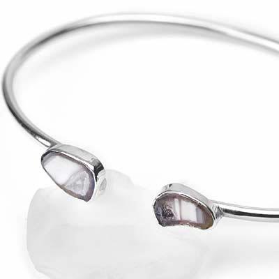 Silver and Geode Druzy Stone Bracelet
