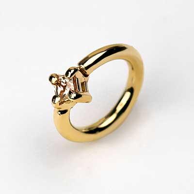 14k Princess Cut Fixed Bead Ring