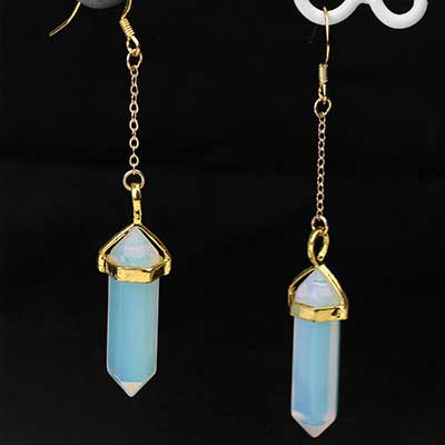 Gold Plated Opalite Point Earring
