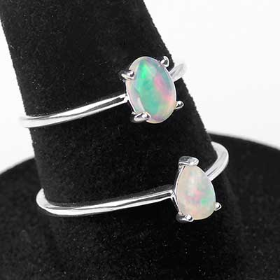 Silver and Prong Set Ethiopian Opal Ring