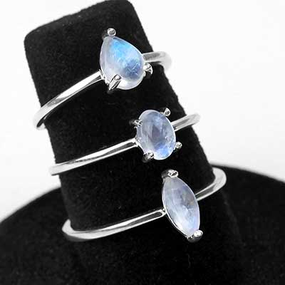 Silver and Prong Set Rainbow Moonstone Ring