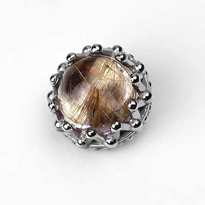 18K Gold Rutilated Quartz King Threaded End
