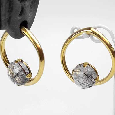 Solid Brass Coils with Tourmalated Quartz