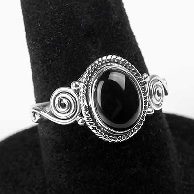 Silver and Black Onyx Oval Ring
