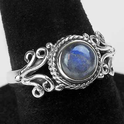 Ornate Silver and Labradorite Ring