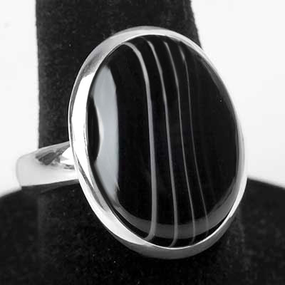 Banded Black Agate Oval Ring