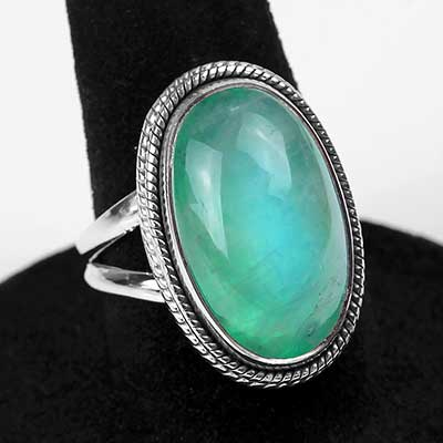 Silver and Green Rainbow Moonstone Ring