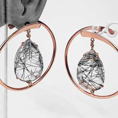 Rose Gold Plated Suspended Stay Sexy Tourmalinated Quartz Earrings