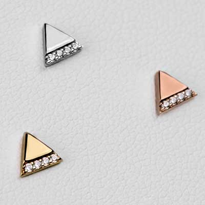 Solid 14k Gold Love Triangle Threadless End