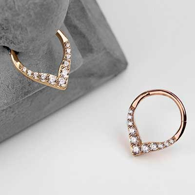 14K Gold Rise and Shine Septum Clicker