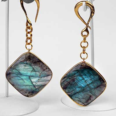 Brass and Faceted Labradorite Square Weights