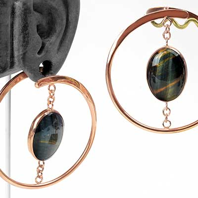 Rose Gold Plated Suspended Stay Sexy With Blue Tiger Eye