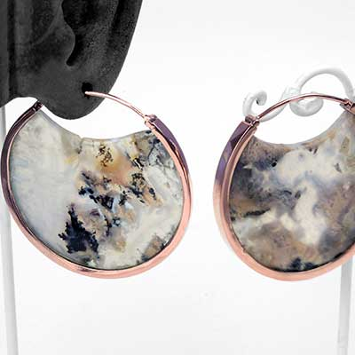 Rose Gold and Dendritic Agate Muse Earrings