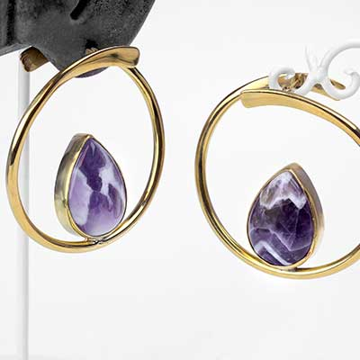 Brass Stay Sexy Earrings With Amethyst