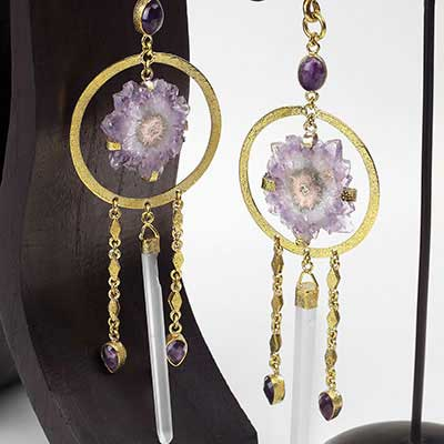 Solid Brass Amethyst Stalactite and Crystal Weights