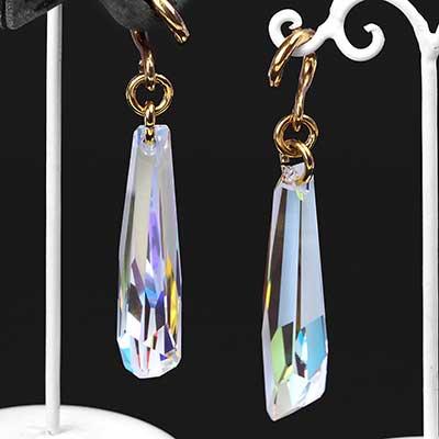 AB Swarovski Crystal with Brass Hooks