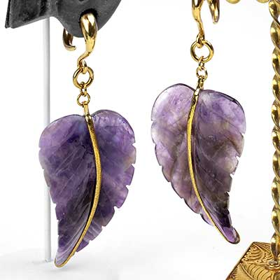 Solid Brass and Amethyst Leaf Weights