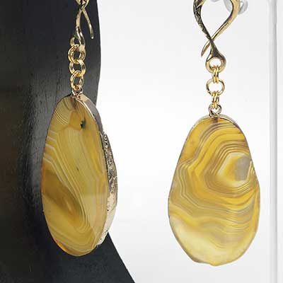 Brass and Dyed Agate Slice Weights