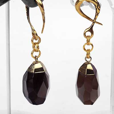 Brass and Faceted Smokey Quartz Weights