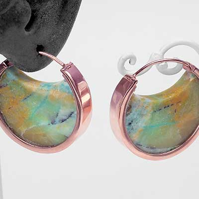 Rose Gold and Opalized Petrified Wood Muse Hoops