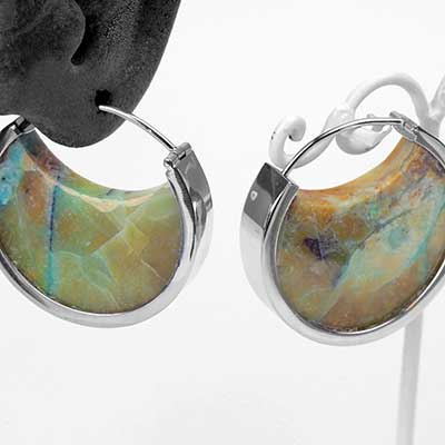 White Gold and Opalized Petrified Wood Muse Hoops