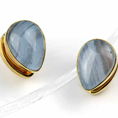 Solid Brass Mini Spade Weights with Blue Lace Agate