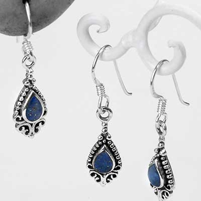 Silver and Lapis Lazuli Beaded Drop Earrings