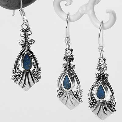Silver and Lapis Lazuli Fountain Earrings