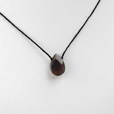 Silk and Smoky Quartz Gemstone Necklace