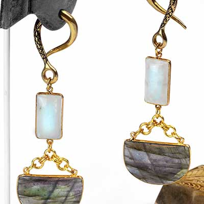 Solid Brass with Faceted Labradorite and Moonstone Weights