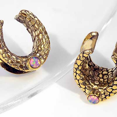 Textured Brass Saddles with Synthetic Pink Opal
