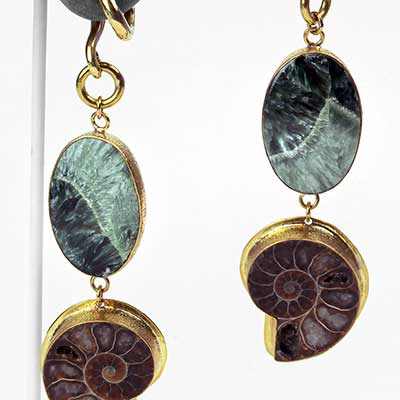 Solid Brass Ammonite and Seraphinite Weights