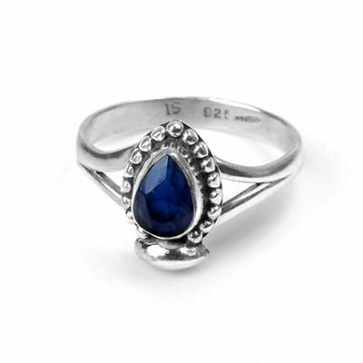 Silver and Sapphire Teardrop Ring