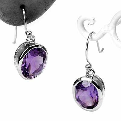 Oval Amethyst Dangle Earrings